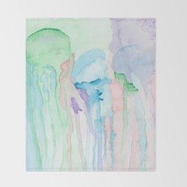 Watercolor Jellies Throw Blanket