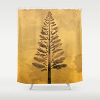 arya Shower Curtains featuring Feather Tree in warm colours by Hinal Arya