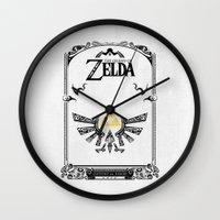 the legend of zelda Wall Clocks featuring Zelda legend - Hyrulian Emblem by Art & Be