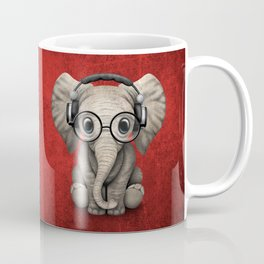 Cute Baby Elephant Dj Wearing Headphones and Glasses on Red Coffee Mug