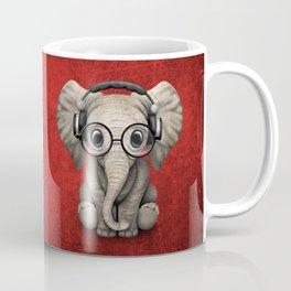 Cute Baby Elephant Dj Wearing Headphones and Glasses on Red Coffee Mug