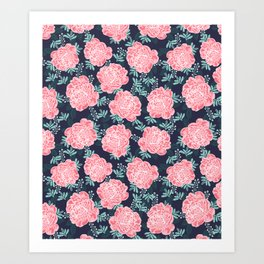 Peony Flowers navy pink and white modern colors for office home or college dorm decor Art Print