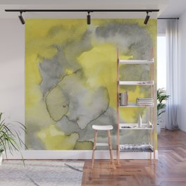 Hand painted gray yellow abstract watercolor pattern Wall Mural