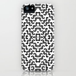 Black graphic squiggle tiles, abstract shapes, ethno-inspired iPhone Case