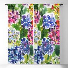 hydrangeas in green: watercolor flowers Blackout Curtain