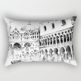 Sketch of San Marco Square in Venice Rectangular Pillow