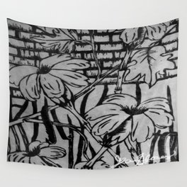 Black and White Palm Flowers by my Mom Wall Tapestry