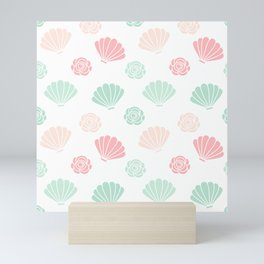 cute colorful summer pattern with seashells and roses Mini Art Print