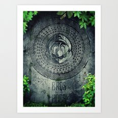 Super Mario Memorial Stone - Bros Before Hoes Art Print