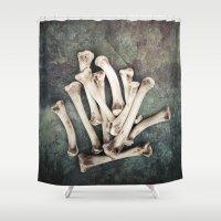 bones Shower Curtains featuring Bones by Maria Heyens