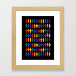 Rainbow People Pattern (black background) Framed Art Print