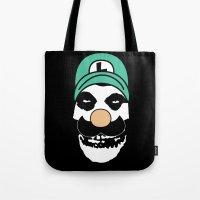 luigi Tote Bags featuring Misfit Luigi by cudatron