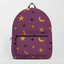 Purple background with black and orange moon and star pattern Backpack