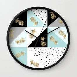 Pastel color block watercolor dots faux gold pineapple Wall Clock