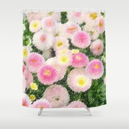 Snowball Bellis Daisy Bouquet Still Life Painting by Jeanpaul Ferro Shower Curtain