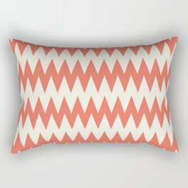 Pantone Cannoli Cream Soft Zigzag Pointed Rippled Horizontal Lines on Living Coral Rectangular Pillow
