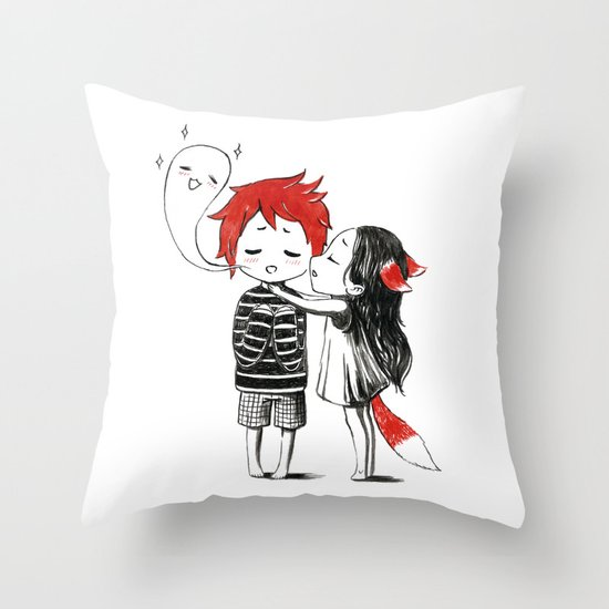 Boy and a Fox Throw Pillow