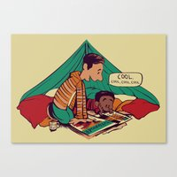 caleb troy Canvas Prints featuring Troy & Abed's Dope Adventures by Megan Lara