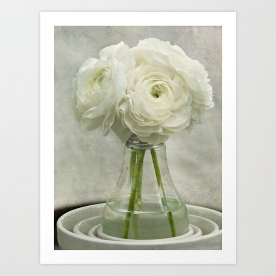 White on White Ranunculus Flower Bouquet -- Spring Botanical -- Floral Still Life Art Print