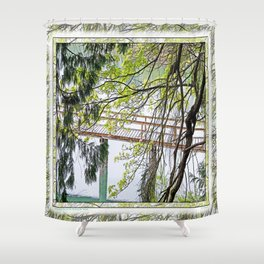 RAINY SPRING DAY AT THE DOCK IN THE WOODS Shower Curtain