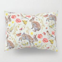Bunny Meadow Pattern - Green Pillow Sham
