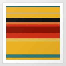 A super farrago of Police Blue, Ming, Khaki (Html/Css) (Khaki), Lanzones, Urobilin, Brownish Orange, Rusty Red, Brick Red and Chinese Black stripes. Art Print