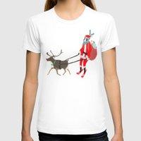 husky T-shirts featuring Santa Husky by miba