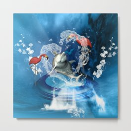 Dolphin jumping by a heart Metal Print