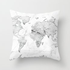 world map marble Throw Pillow