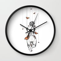 burlesque Wall Clocks featuring Burlesque by Libby Watkins Illustration
