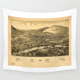 Aerial View of Windsor, New York (1887) Wall Tapestry