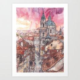 Evening in Prague ink & watercolor illustration Art Print