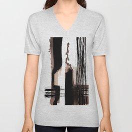 Brown black ink abstract Unisex V-Neck