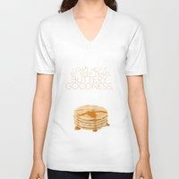 psych V-neck T-shirts featuring my body craves buttery goodness.. funny psych tv quote by studiomarshallarts