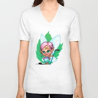 elf V-neck T-shirts featuring Hockey Elf by Havard Glenne
