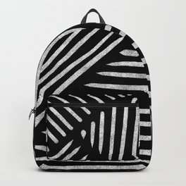 Lines and Patterns in Black and White Brush Backpack