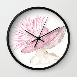 Pink Derby Hat, Kentucky, Horse Race, Southern Wall Clock