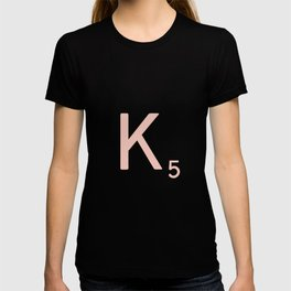 Pink Scrabble Letter K - Scrabble Tile Art and Accessories T-shirt