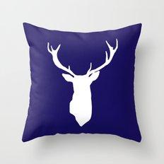 Deer Antler Navy Blue Throw Pillow