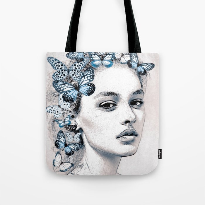 Woman with butterflies 2 Tote Bag