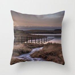 Still waters at the Derwent Reservoir at sunset Throw Pillow