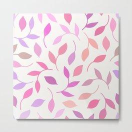 Pastel Leaf Pattern Metal Print