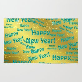new blue Colorful design happy new year text in gold, festive, elegant gift for anyone in the family Rug