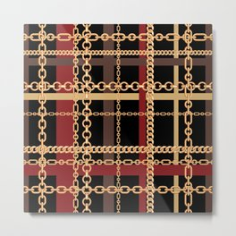 Wrapped in Luxury Gold Chains Red Brown Tartan Metal Print