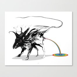 Rat and rainbow. Black on white background-(Red eyes series) Canvas Print
