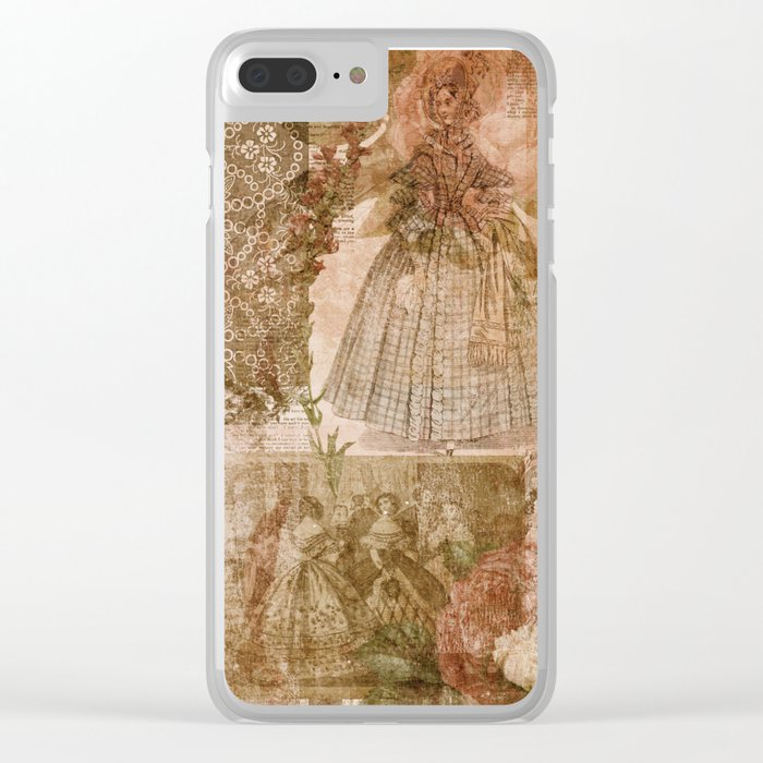 Vintage & Shabby Chic- Victorian ladies pattern Clear iPhone Case