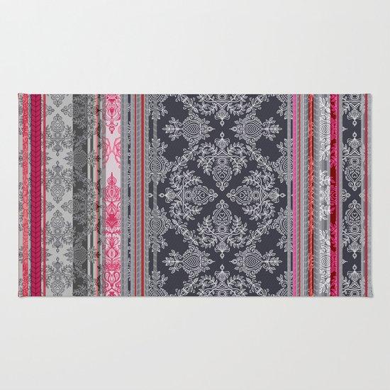 Burgundy Pink Navy Amp Grey Vintage Bohemian Wallpaper Rug