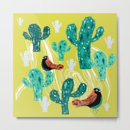 cactus with birds Metal Print