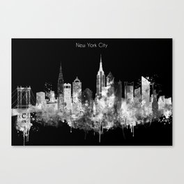 New York City Inverted Watercolor Skyline Canvas Print