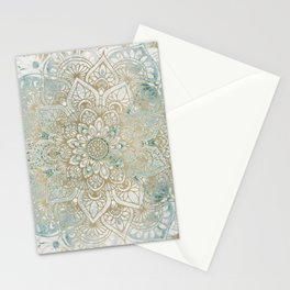 Mandala Flower, Teal and Gold, Floral Prints Stationery Cards